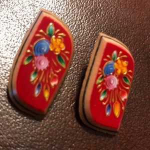 Wooden Painted Earrings